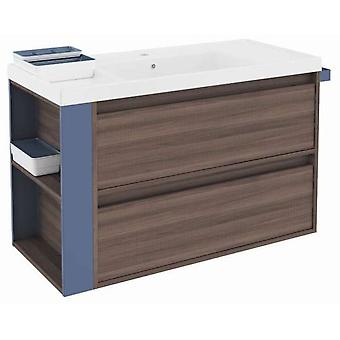 Bath+ Sink Cabinet 2 Drawers With Resin Fresno-Blue 100Cm