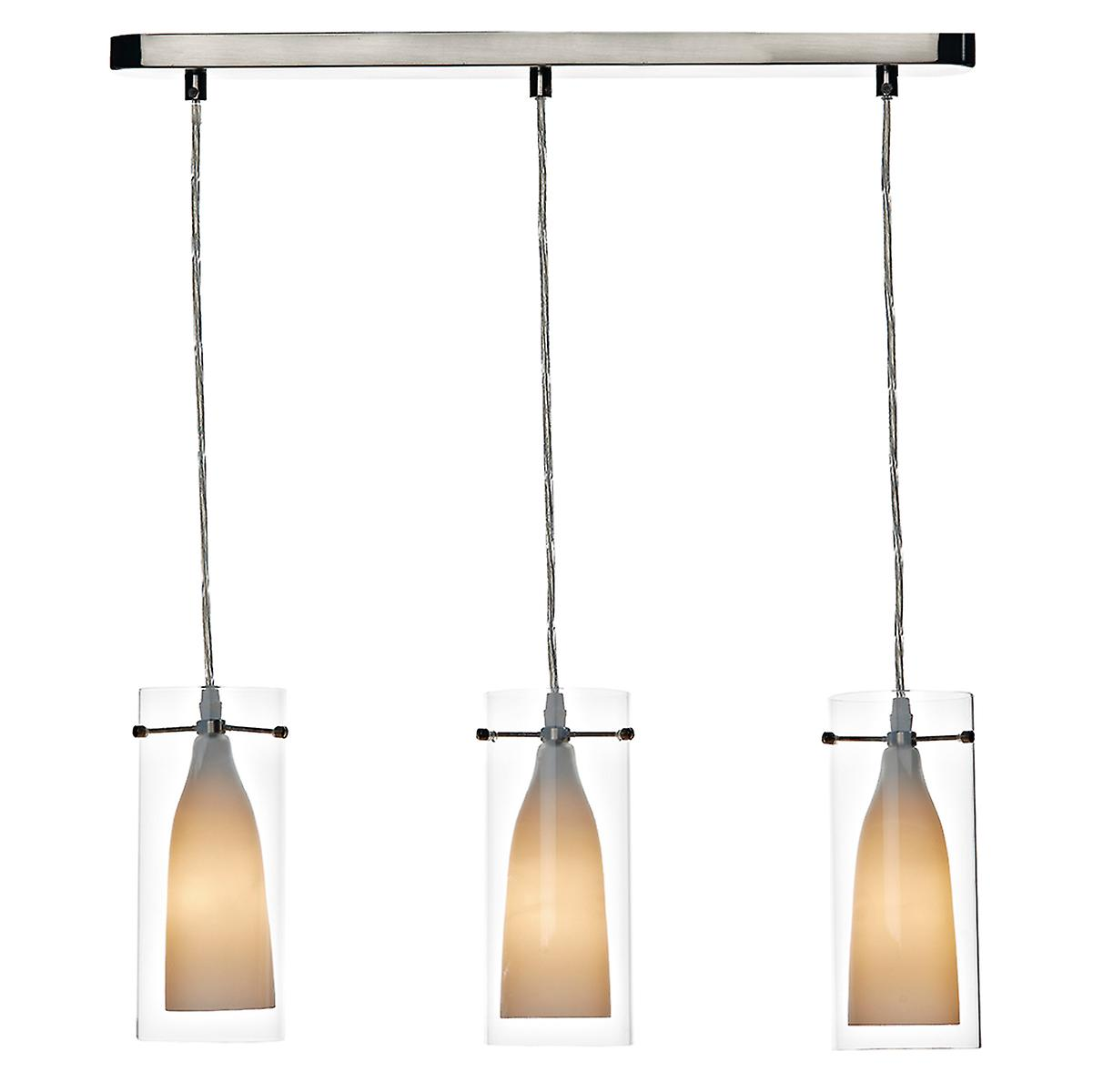 Dar BOD0346 Boda Modern 3 Light Bar Ceiling Pendant With Double Glass