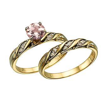 14k Yellow Gold 2.10 CTW naturale pesca/rosa VS Morganite anello con diamanti Wedding Set