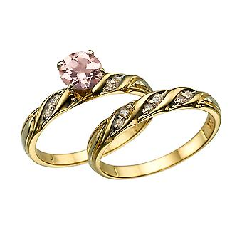 14K Yellow Gold 2.10 CTW natural peach/pink VS Morganite Ring with Diamonds Wedding Set