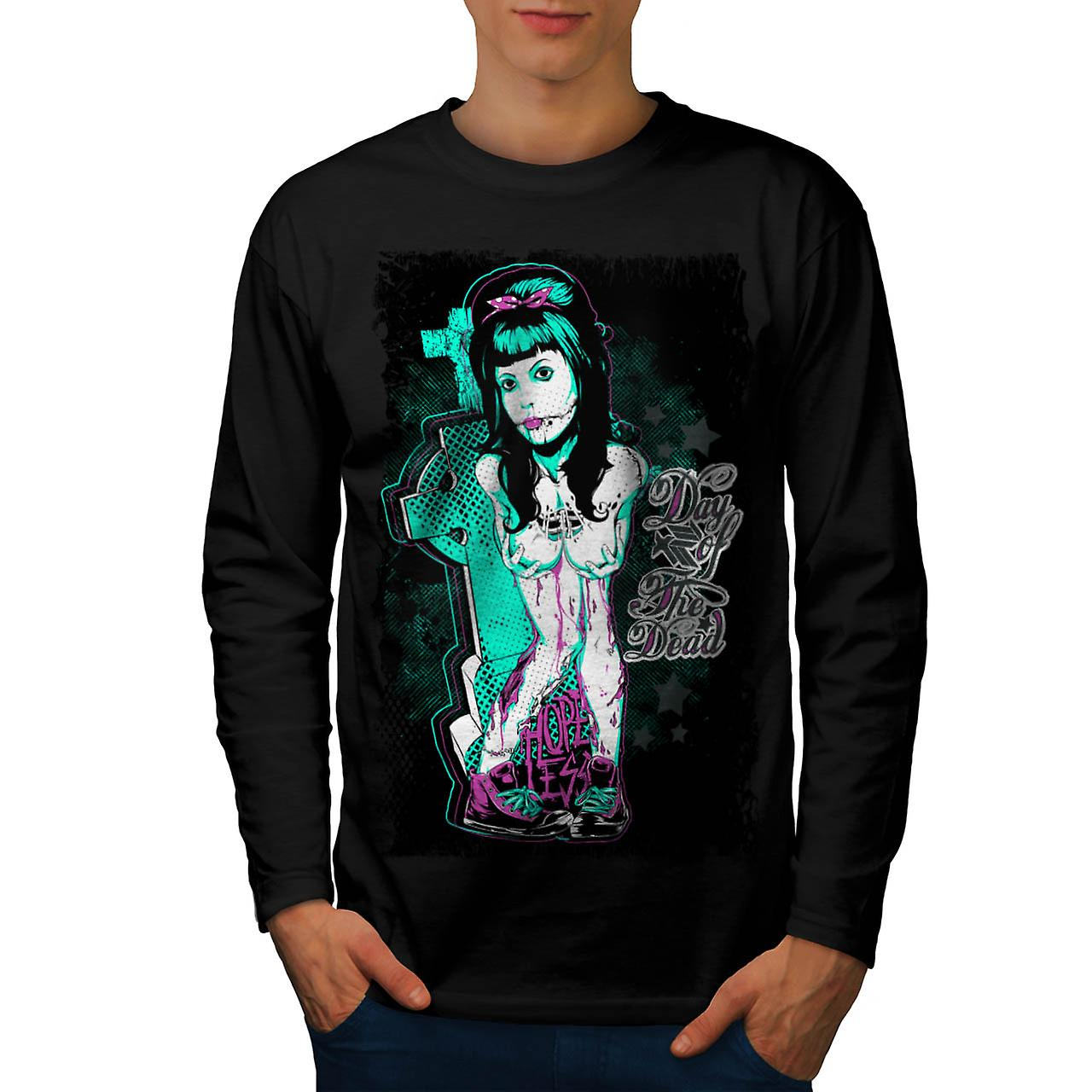Day of The Dead Girl Hopeless Men Black Long Sleeve T-shirt | Wellcoda