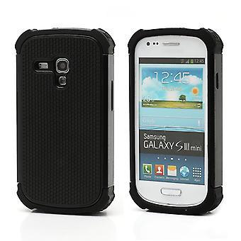 Forsiden av høy styrke PC plast og silikon for Galaxy S3 mini i8190 (svart)