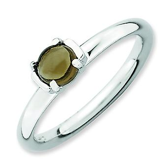 2.5mm Sterling Silver Stackable Expressions Polished Smokey Quartz Ring - Ring Size: 5 to 10