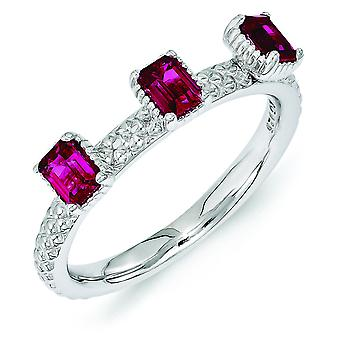 2.5mm Sterling Silver Polished Prong set Rhodium-plated Stackable Expressions Created Ruby Three Stone Ring - Ring Size: