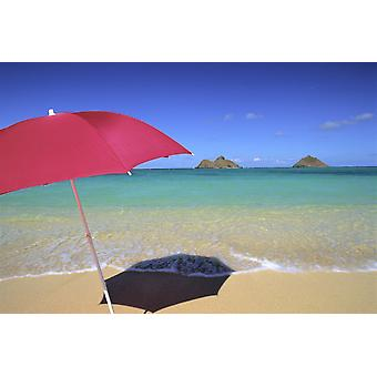 Hawaii Oahu Mokulua Islands Red Umbrella And Shadow On Sand Turquoise Waters Blue Sky PosterPrint