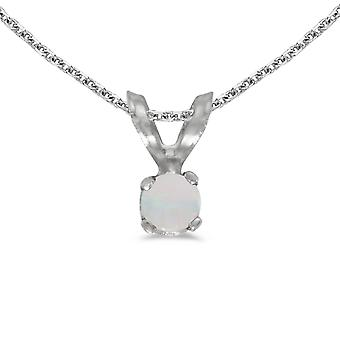 10k White Gold Round Opal Pendant with 16