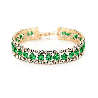 14K Gold Plated Green Cubic Zirconia Tennis Bracelet, 15cm