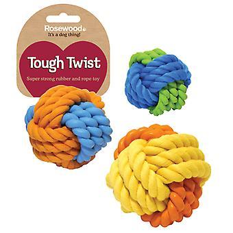 Caoutchouc dur Twist & corde boule 9cm (Pack de 3)