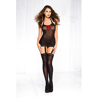 Suspender Dress With Attached Stockings And Red Bow-Black