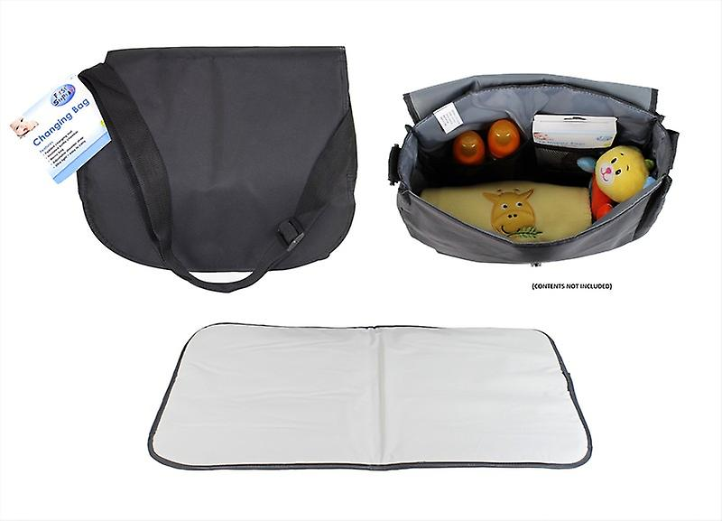 Baby Changing Bag with Changing Mat Carry Straps Storage Bottle Holder Messy Bag