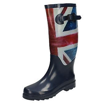 レディース スポットオン連合の旗デザイン ウェリントン ブーツします。