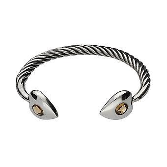Handmade Topaz Enamelled Heart Head Celtic Twist Pewter Small Bracelet ~ Adjustable