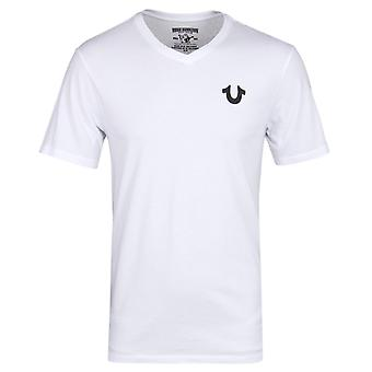 True Religion White Classic Horseshoe Logo V-Neck T-Shirt