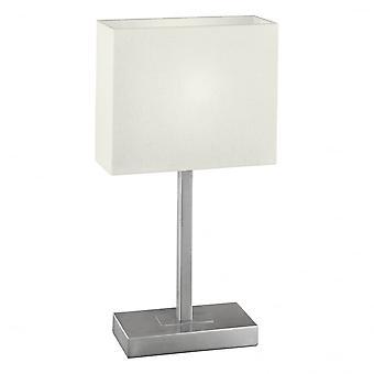 Eglo Pueblo1 1 lichte moderne tabel Lamp witte schaduw nikkel Matt F