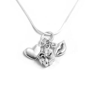 W.A.T Sterling Silver Romantic Girl Charm  Necklace