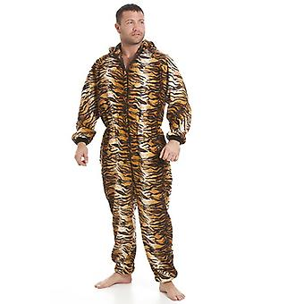 Camille Classic Mens All In One Gold And Brown Tiger Print Fleece Pyjama Onesie Size S-XXXL