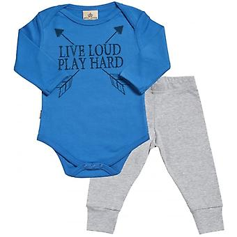 Spoilt Rotten Live Loud Play Loud Babygrow & Jersey Trousers Outfit Set