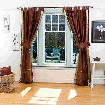 Indo Brown Tab Top Sari Sheer Curtain (43 in. x 84 in.) with matching tieback