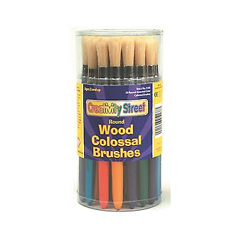 30 Round Chunky Handled Paintbrushes for Arts and Crafts | Kids Paint Brushes