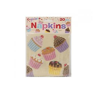 Pack Of 20 Disposable Cream Paper Napkins With Cupcake Design