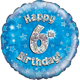Oaktree 18 Inch Happy 6th Birthday Blue Holographic Balloon