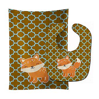 Carolines Treasures  BB6939STBU Fox on Quatrafoil Baby Bib & Burp Cloth