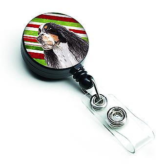 Springer Spaniel Candy Cane Holiday Christmas Retractable Badge Reel