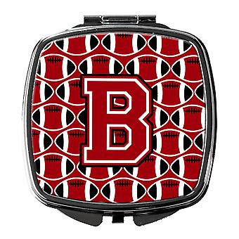 Letter B Football Red, Black and White Compact Mirror