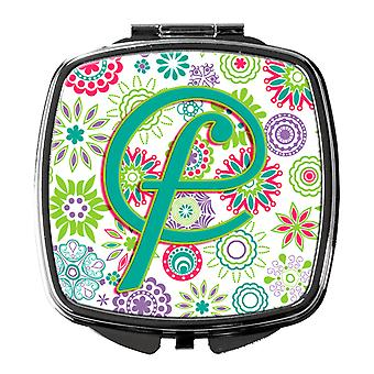 Letter F Flowers Pink Teal Green Initial Compact Mirror