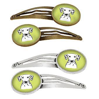 Dambord Lime groen Dalmatische Set van 4 haarspeldjes Hair Clips
