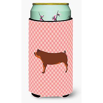 Duroc Pig Pink Check Tall Boy Beverage Insulator Hugger