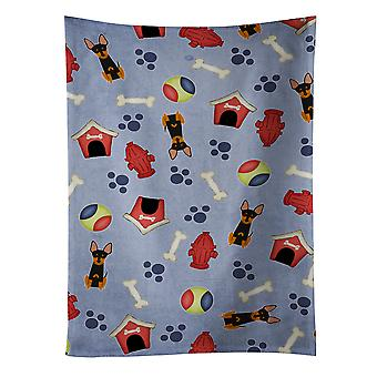 Cachorro casa coleção inglês Toy Terrier toalha de cozinha