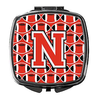 Letter N Football Scarlet and Grey Compact Mirror