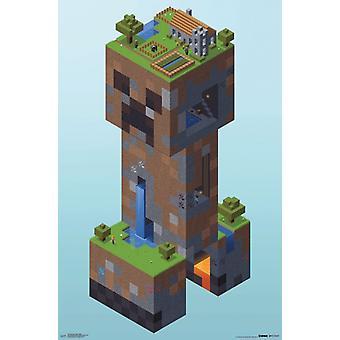 Minecraft - Creeper Village Poster Print