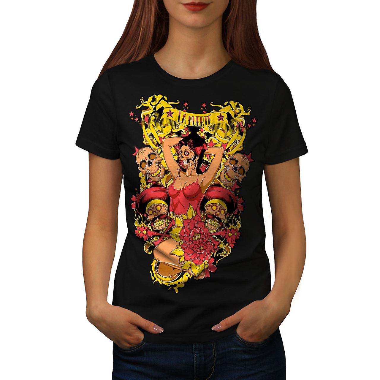 La Muerte Sexy Hot Zombie Women Black T-shirt | Wellcoda