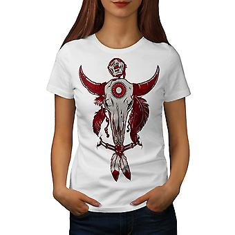 Indische Buffalo Skull Frauen WhiteT-Shirt | Wellcoda
