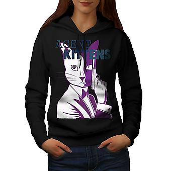 Agente gattini gatto divertente donne BlackHoodie | Wellcoda