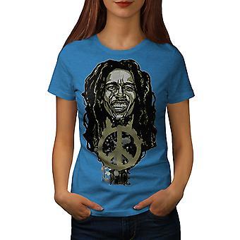 Peace Rasta Bob Marley Women Royal BlueT-shirt | Wellcoda