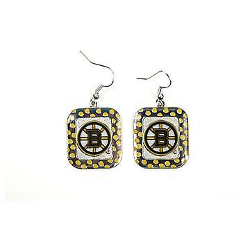 Boston Bruins NHL Polka Dot Style Dangle Earrings