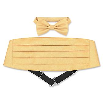 Cumberbund & BowTie Solid METALLIC Design Men's Cummerbund Bow Tie Set