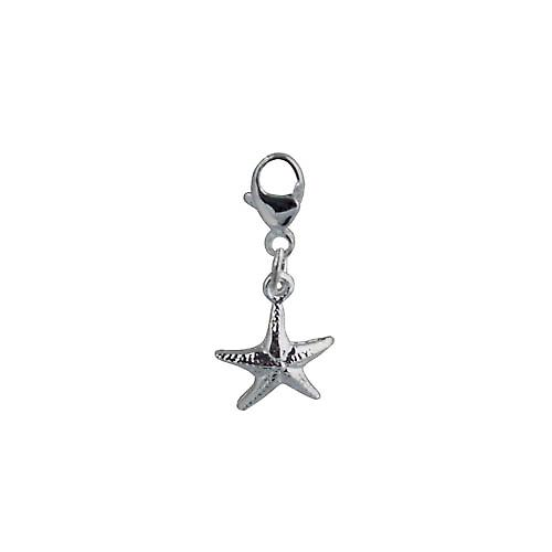 Silver 10x10mm Starfish Charm on a lobster trigger