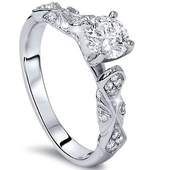 1/2ct Sculptural Diamond Vintage Engagement Ring 14K White Gold
