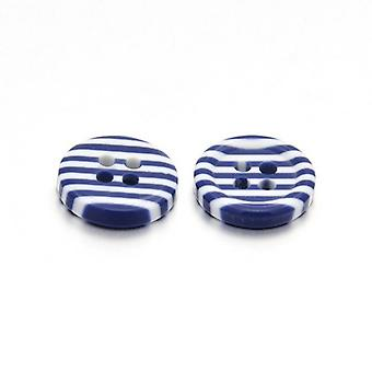5 x Dark Blue/White Resin 13mm Round 4-Holed Patterned Sew On Buttons HA14435