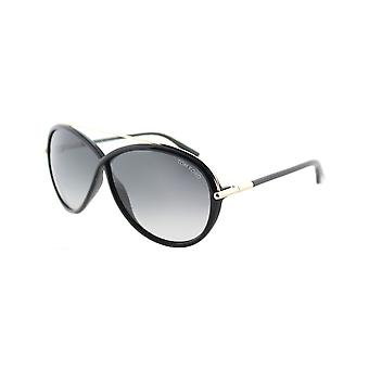 Tom Ford Tom Ford Ladies Shiny Black Tamara Oversized Sunglasses With Smoke Gradient Lenses