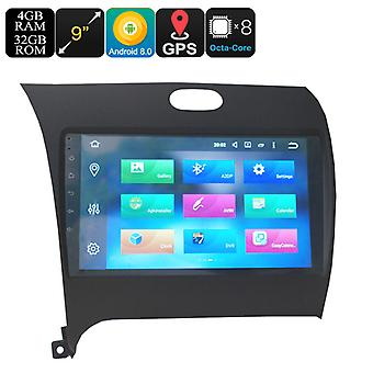 One DIN Car Media Player For KIA K3 - 9 Inch Display, Android 8.0, Octa-Core, 3G, 4G, GPS, Bluetooth, Wi-Fi