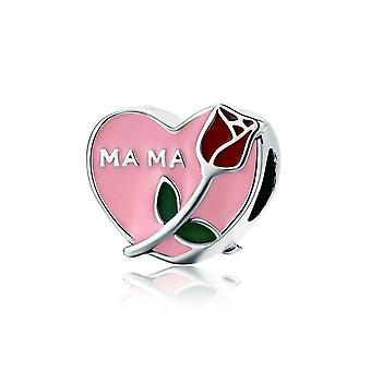 Sterling silver charm Love heart with rose SCC652