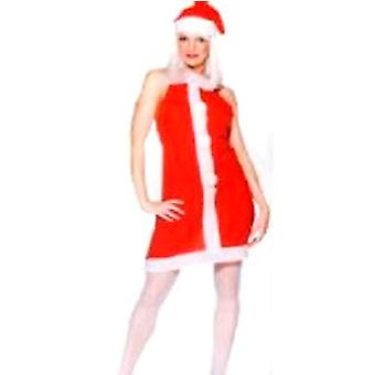 Ladies Miss Santa Fleece Apron With Pom Poms & Hat - Medium