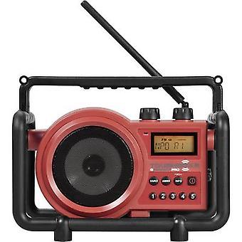 PerfectPro Toughbox 2 FM Workplace radio AUX, AM, FM splashproof, dustproof, shockproof Red