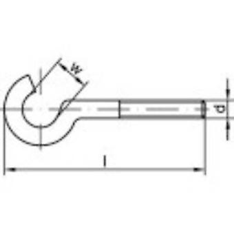 TOOLCRAFT Bent screw hooks 50 mm Electrogalvanised steel M6 100 pc(s)