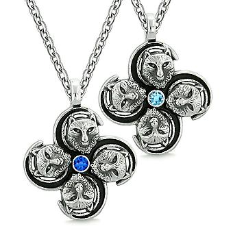 Supernatural Courage Wolf Amulets Love Couples Best Friends Royal Blue Crystals Pendant Necklaces